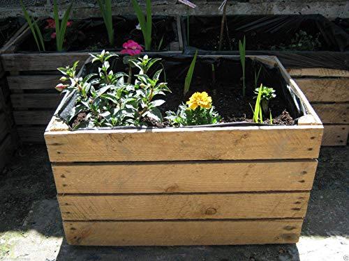 1 x PLANTER Vintage Rustic European Wooden Apple Crates,Wooden Garden Trough Planter Veg Bed Flower Plant Pots