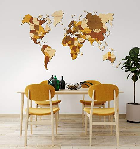 3D Wood World Map Wall Art, World Wall Map Anniversary Gift World Map Wooden Travel Push Pin Map Rustic Home Wood Wall Art