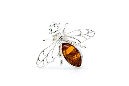 Bee Brooch   Baltic Amber & Sterling Silver Bee Pin Insect brooch