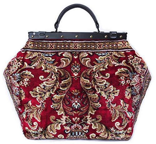 Large Weekender Carpet Bag SAC-VOYAGE Blossom Red - Magical Mary Poppins Vintage