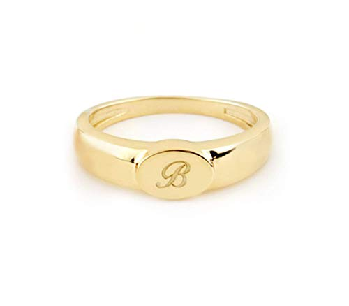 Elegant jewel box Women Oval Initial signet ring in solid Gold 9k, 14k, & 18k