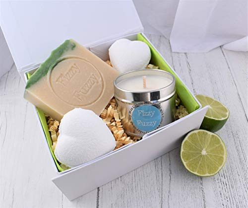 Gin & Tonic Gift Spa Bath Pamper Set. Bath Bombs, Soap, Candle. Handmade by Fizzy Fuzzy.