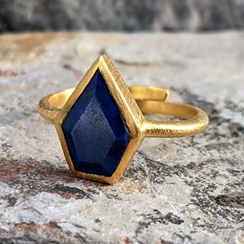 Gold Adjustable Rings. Lapis Lazuli Birthstone