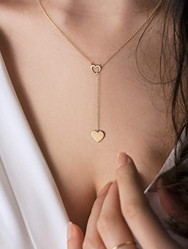 Gold Heart Lariat Style Necklace, 9k 14k 18k Gold, Yellow Gold, Dainty Heart Charms