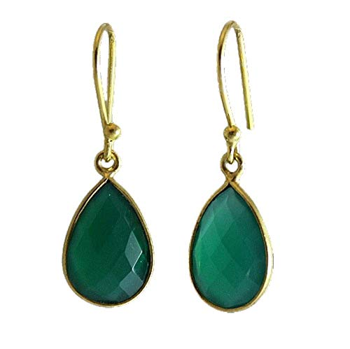 Green Onyx Drop Earrings - Gold Plated Sterling Silver Ear Wires
