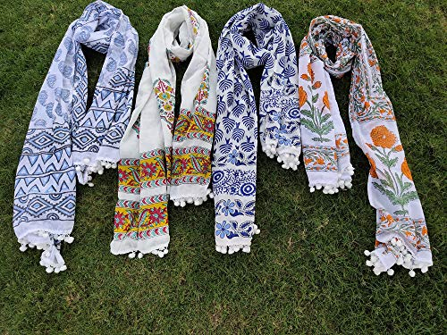 Handmade 5 Pcs Hand Block Scarf indian cotton scarves