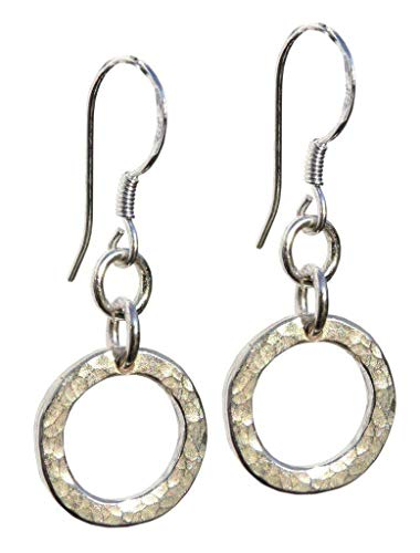 Handmade for Women 925 Sterling Silver Hand Hammered Hoop Drops Earrings - Gift Wrapped