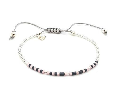 """Hugs"" Morse code women's adjustable bracelet with puff heart charm"