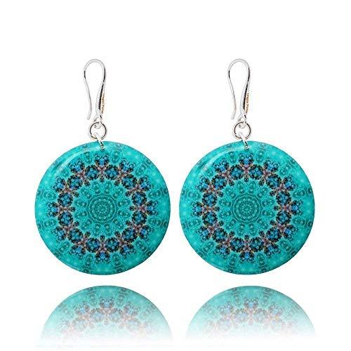 Mandala Fashion Lightweight Turquoise Teal Blue Statement Earrings