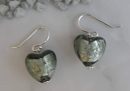 Murano Glass Charcoal Silver Heart Sterling Silver Drop Earrings