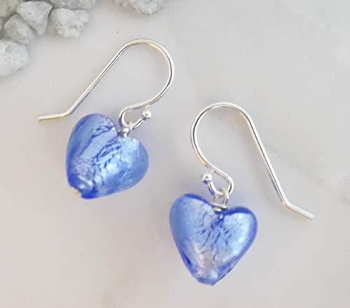 Murano Glass Mini Blue Heart Sterling Silver Drop Earrings