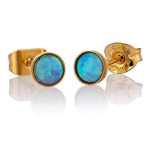 Opal Stud Earrings Gold Filled 4mm Light Blue Opal Tiny Posts