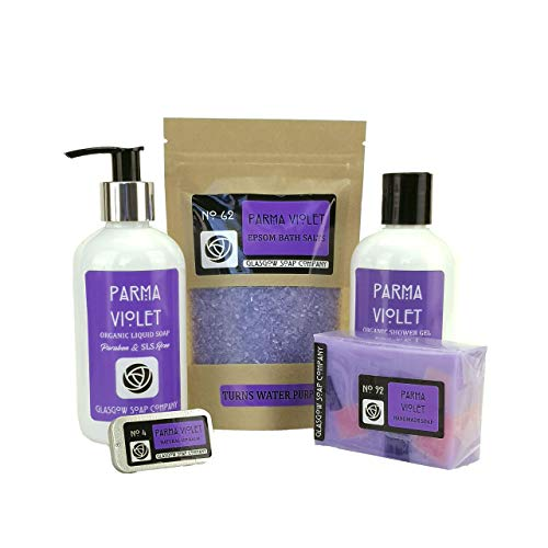 Parma Violet Bath and Body Gift Set. Handmade in Scotland by Glasgow Soap Comapny