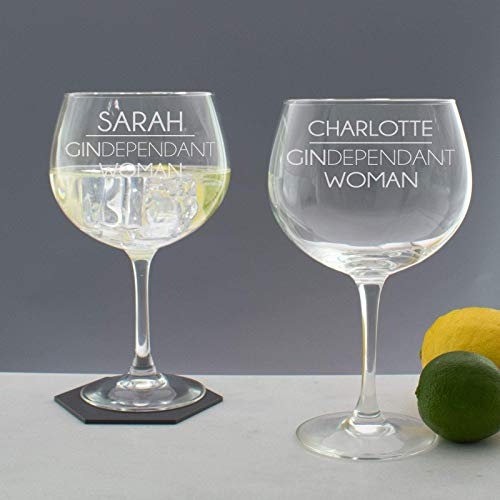 Personalised GINDependant Woman Copa Balloon Glass Gift/Gin & Tonic