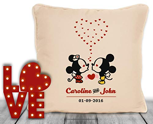 Personalised Mickey And Minnie Mouse Better Together Throw Pillow
