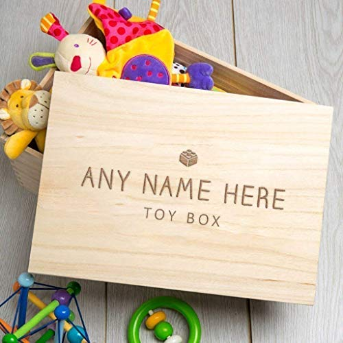 Personalised Wooden Toy Box for Baby/Children/Christmas Gifts For Kids - 35x25x20cm