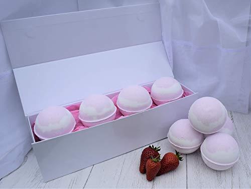 Pink Prosecco & Strawberry Bath Bombs. Handmade by Fizzy Fuzzy.