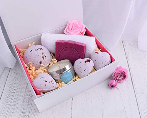 Relaxing Rose Pamper Gift Box Set. Soap, candle, bath bombs. By Fizzy Fuzzy