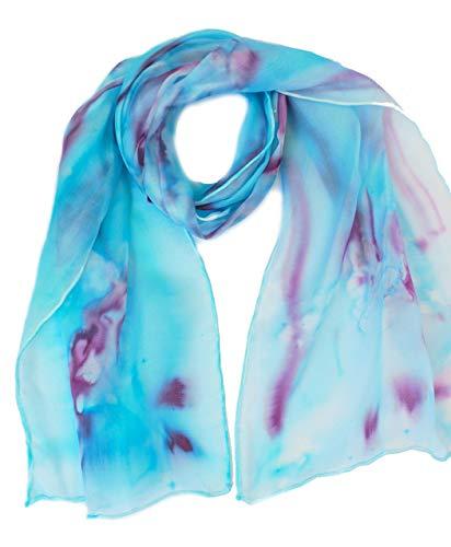 Silk scarf long lightweight 100% silk Turquoise blue scarf
