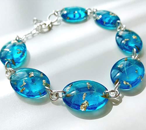 Sterling Silver Aquamarine Blue Dandelion Seed Wish Bracelet