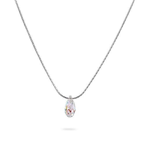 Swarovski Crystal Teardrop Sterling Silver Necklace Minimalist