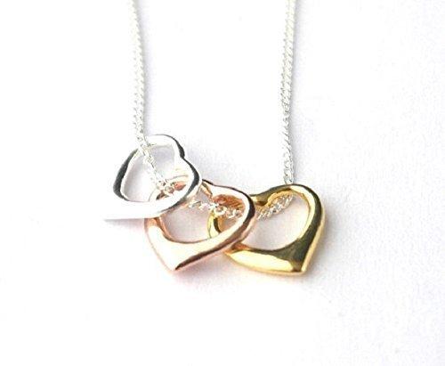 Three Heart pendant Womens necklace