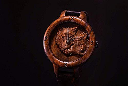 Wolves Wooden Watch engraving and customization