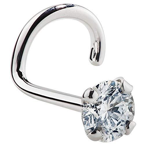 Women's Diamond Nose Ring Stud 1.5mm 14K White Gold