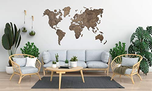 Wooden Map of the World, Map Travel Push Pin Map, Rustic Home Wood Wall Art